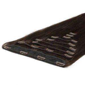 Deluxe Clip in Vlasy 50cm 200g Tmave Hnedá 02-2972