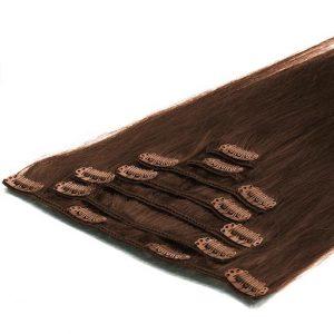 Clip in Vlasy 50cm 70g Cokoládove Hnedá 04-0