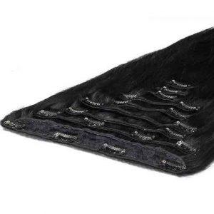Deluxe Clip in Vlasy 50cm 200g Cerná Jako Uhel 01-0