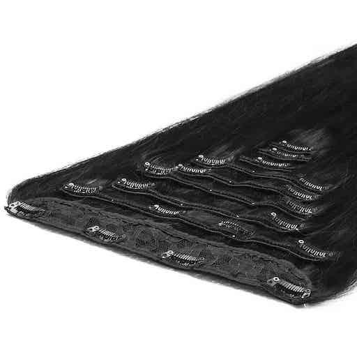 Deluxe Clip in Vlasy 50cm 200g Prirozená Cerná 1B-0