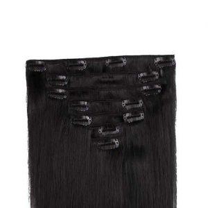 Clip in Vlasy 60cm 160g Cerná Jako Uhel 01-0